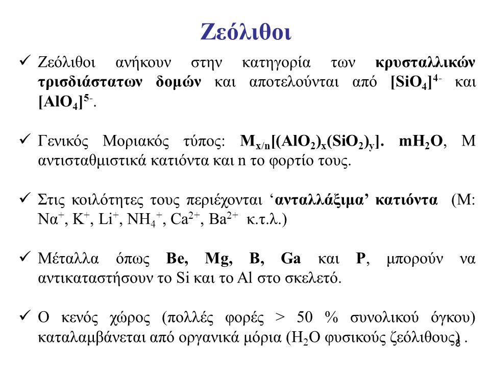 Ζεόλιθοι Ζεόλιθοι ανήκουν στην κατηγορία των κρυσταλλικών τρισδιάστατων δομών και αποτελούνται από [SiO4]4- και [AlO4]5-.